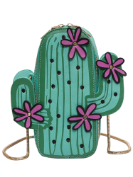 Novelty Cactus Shaped Crossbody Bag - GREEN