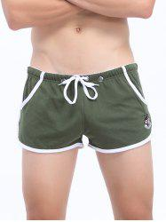 Lace Up Pouch Design Wolf Embroidered Home Shorts