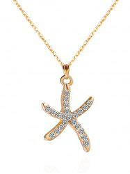 Rhinestone Starfish Shape Pendant Necklace