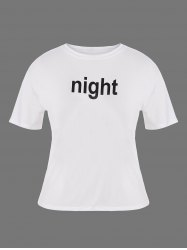 Plus Size Night Graphic T-Shirt - WHITE 2XL