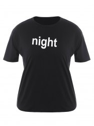 Plus Size Night Graphic T-Shirt - BLACK 4XL