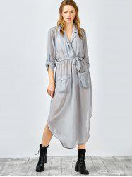 Pockets Tie Belt Crossover Maxi Dress