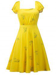 Printed Square Neck High Waist Skater Dress - YELLOW