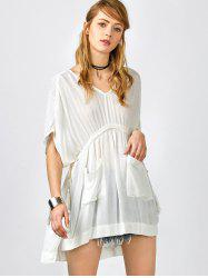 Pockets Drawstring Kaftan Coverup Dress -