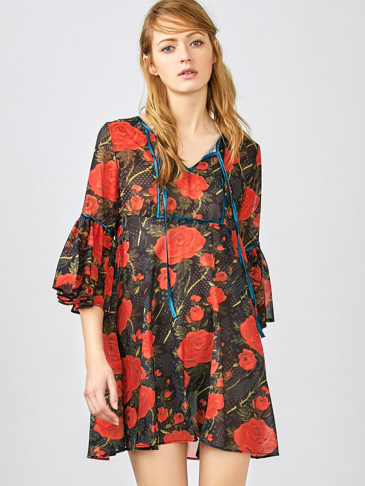 Fashion 3/4 Sleeve Floral Smock Blouse
