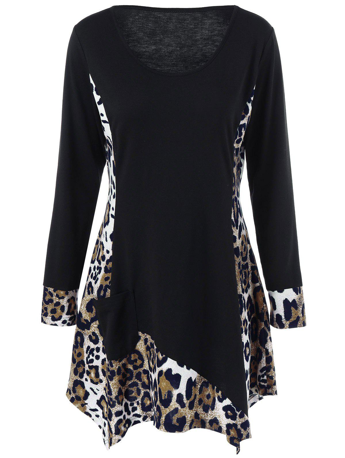 Buy Long Sleeve Plus Size Leopard Trim Tunic T-Shirt