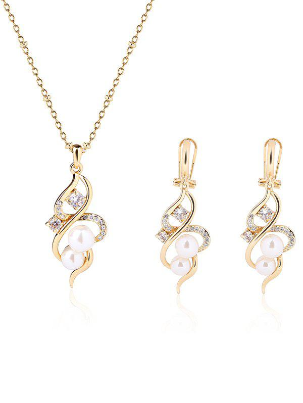 Faux Pearl Infinity Rhinestone Jewelry SetJEWELRY<br><br>Color: GOLDEN; Gender: For Women; Necklace Type: Link Chain; Metal Type: Alloy; Style: Trendy; Shape/Pattern: Geometric; Length: 50CM (Necklace); Weight: 0.0700kg; Package Contents: 1 x Necklace  1 x Earrings(Pair);