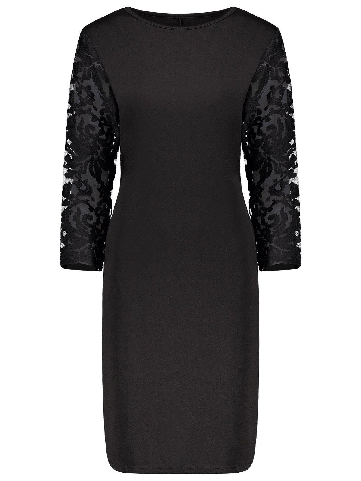 New Plus Size Lace Insert Bodycon Sheath Dress