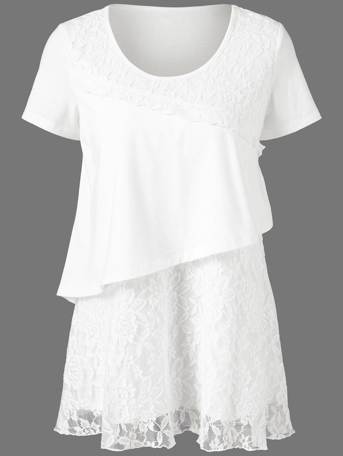 Floral Lace Trim Overlay T-Shirt от Rosegal.com INT