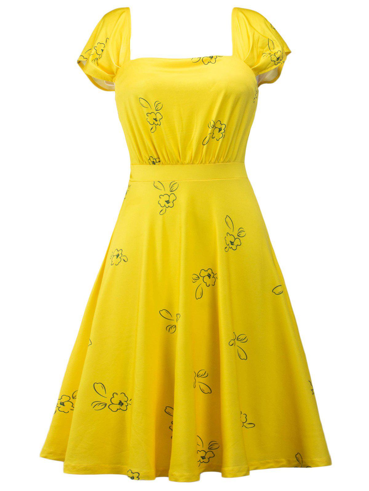 Printed Square Neck High Waist Skater DressWOMEN<br><br>Size: M; Color: YELLOW; Style: Vintage; Material: Polyester; Silhouette: A-Line; Dresses Length: Knee-Length; Neckline: Square Collar; Sleeve Length: Short Sleeves; Pattern Type: Print; With Belt: No; Season: Summer; Weight: 0.2700kg; Package Contents: 1 x Dress;