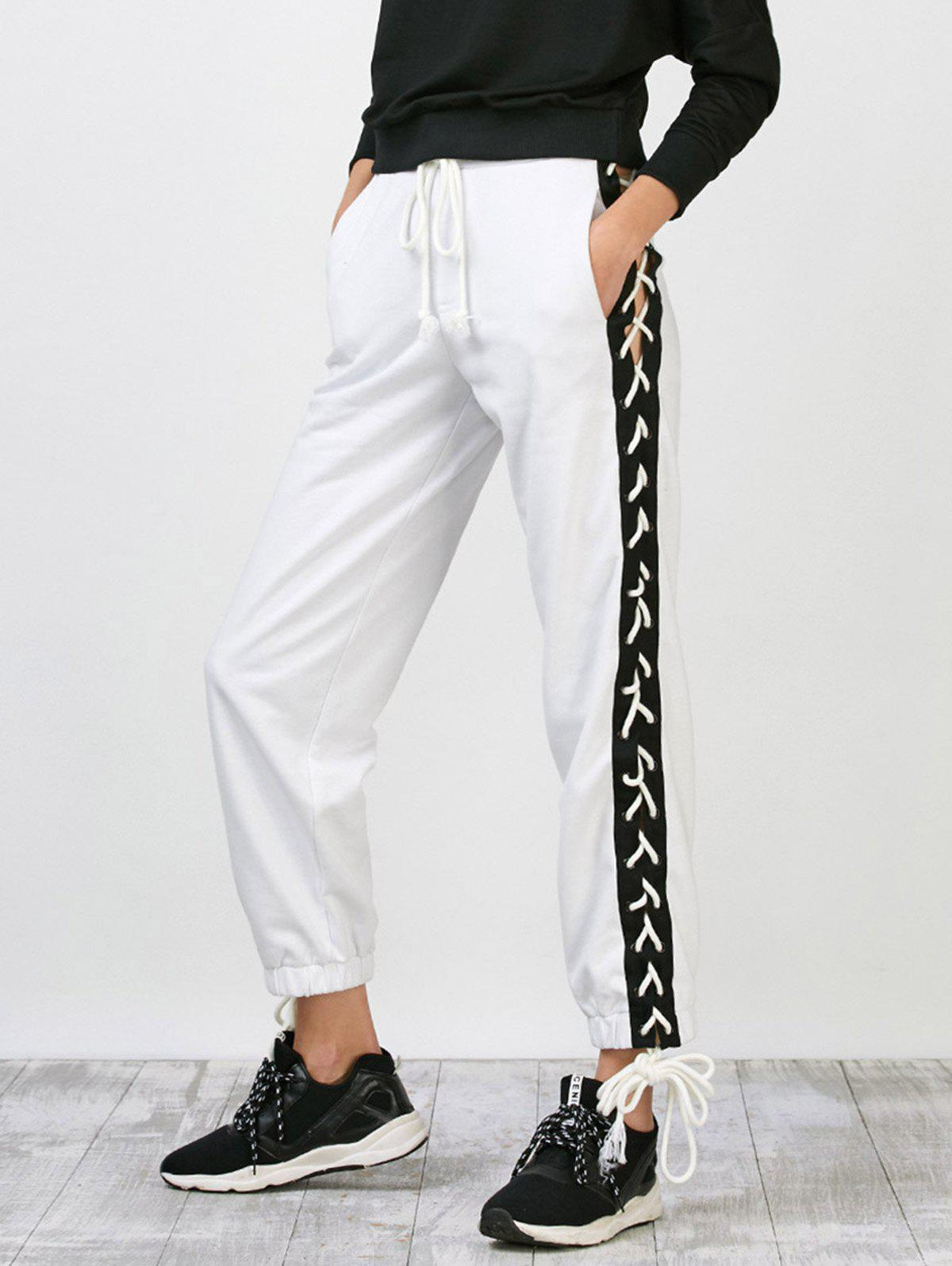 Side Pants Lace Up Jogger Blanc L