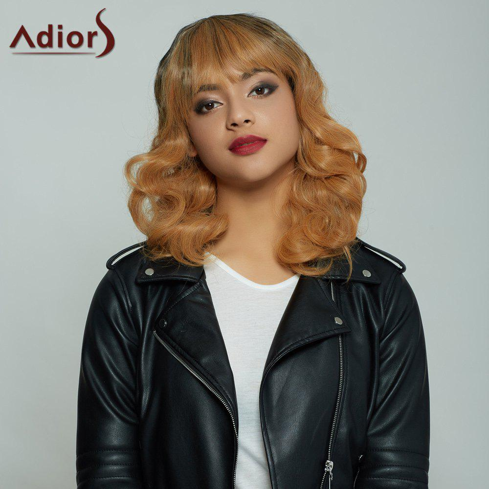 Chic Attractive Medium Fluffy Curly Full Bang Gradient Women's Synthetic Hair Wig