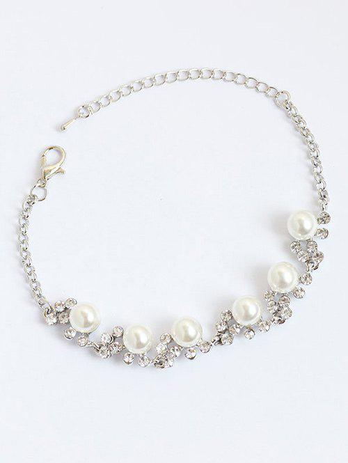 Faux Pearls Rhinestone Embellished Chain BraceletJEWELRY<br><br>Color: SILVER; Item Type: Chain &amp; Link Bracelet; Gender: For Women; Chain Type: Link Chain; Style: Trendy; Shape/Pattern: Others; Length: 23CM; Weight: 0.0400kg; Package Contents: 1 x Bracelet;