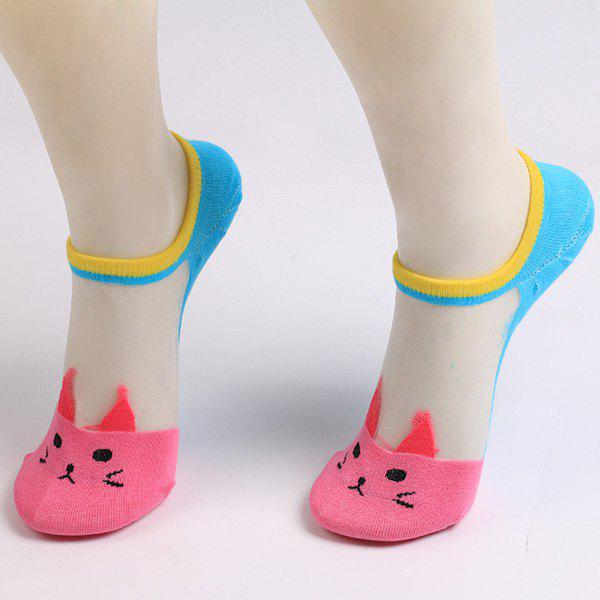 Sheer Mesh Insert Short Knit Cat SocksACCESSORIES<br><br>Color: TUTTI FRUTTI; Type: Socks; Group: Adult; Gender: For Women; Style: Fashion; Pattern Type: Character; Material: Polyester; Length(CM): 17.8CM; Width(CM): 8.5CM; Weight: 0.0180kg; Package Contents: 1 x Socks(Pair);