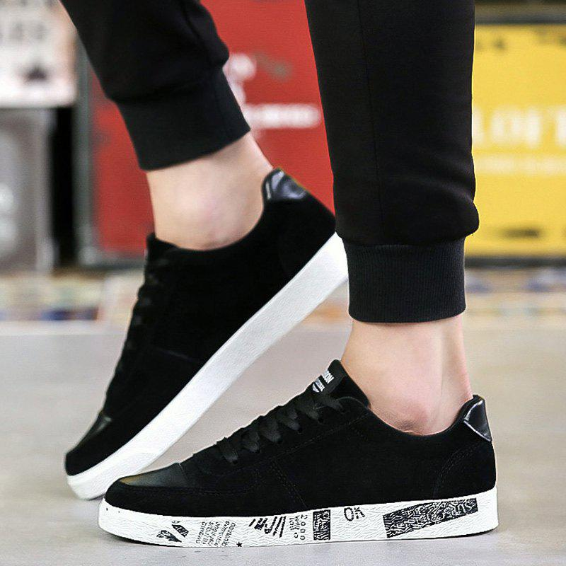 Chic Lace Up Faux Leather Insert Casual Shoes