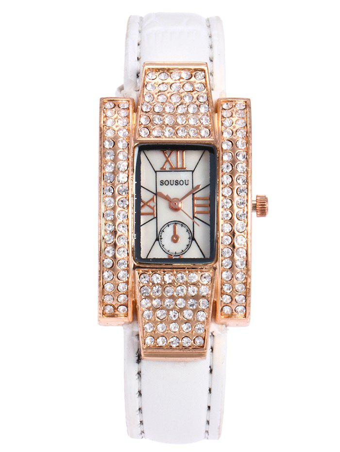 Outfits SOUSOU Faux Leather Rhinestone Rectangle Watch