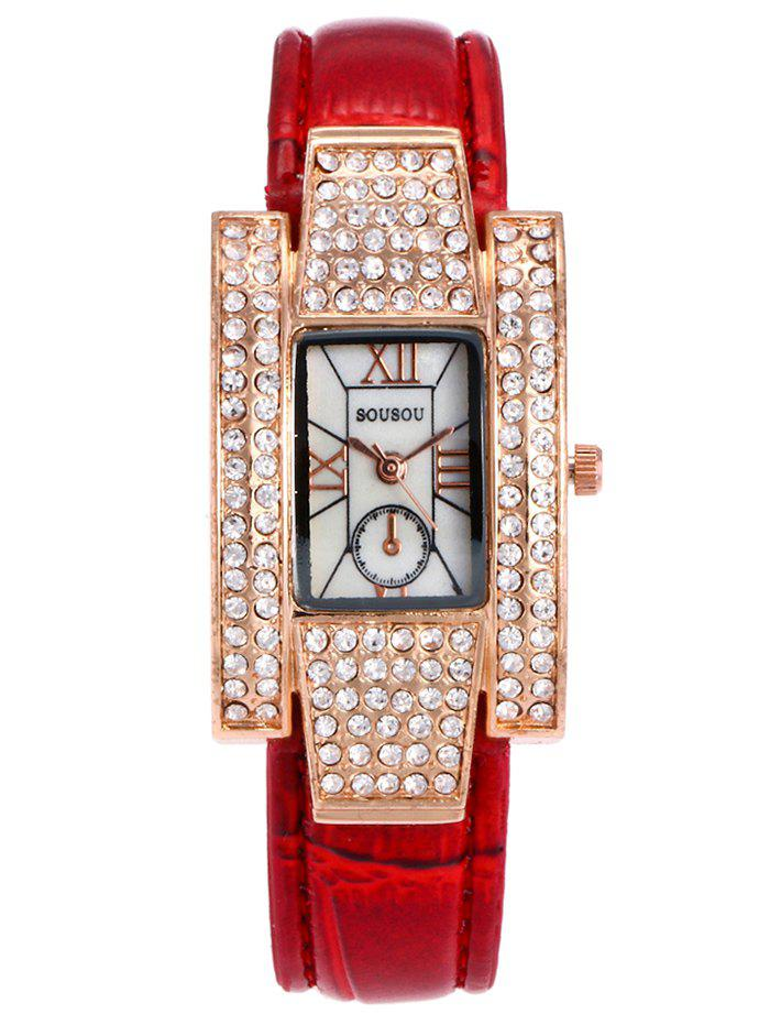 New SOUSOU Faux Leather Rhinestone Rectangle Watch