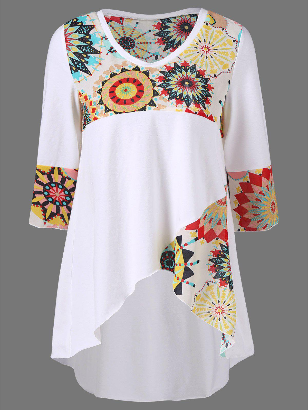 Plus Size Graphic Design High Low Hem T-ShirtWOMEN<br><br>Size: 4XL; Color: WHITE; Material: Polyester,Spandex; Shirt Length: Long; Sleeve Length: Three Quarter; Collar: Round Neck; Style: Casual; Season: Summer; Pattern Type: Others; Weight: 0.3400kg; Package Contents: 1 x T-Shirt;