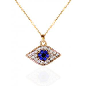 Rhinestoned Eye Shape Pendant Necklace - Golden
