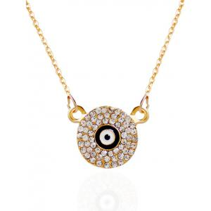 Rhinestone Round Eye Pendant Necklace - Golden - 8