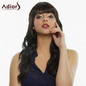 Stylish Full Bang Synthetic Curly Wig For Women - BLACK