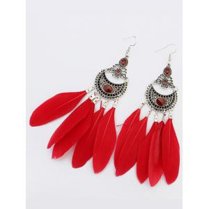 Feather Crescent Drop Earrings