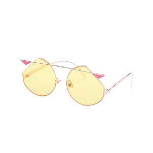 Mirrored Cat Eye Metallic Crossbar Cut lens Sunglasses - Light Yellow