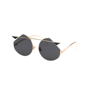 Mirrored Cat Eye Metallic Crossbar Cut lens Sunglasses