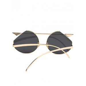 Mirrored Cat Eye Metallic Crossbar Cut lens Sunglasses -