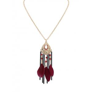 Dream Catcher Feather Fringed Bead Necklace - Wine Red