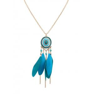 Boho Round Feather Fringed Bead Necklace - Blue