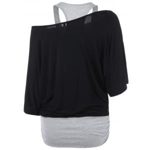 Skew Neck Racerback Two Tone T-Shirt - BLACK AND GREY M