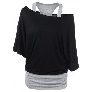 Skew Neck Racerback Two Tone T-Shirt