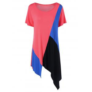 Color Block Asymmetrical Plus Size Longline T-Shirt