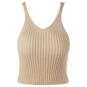 V Neck Ribbed Knitted Tank Top