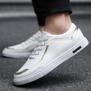 PU Leather Colour Block Casual Shoes - WHITE 40