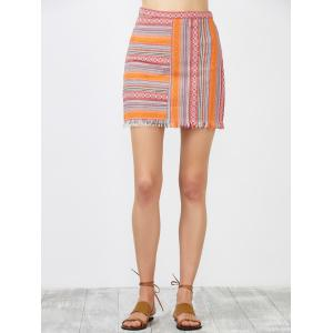 High Rise Striped Fringed Skirt -