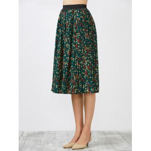 High Waisted Tiny Floral Print Pleated Skirt - GREEN ONE SIZE