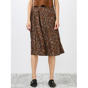 High Waisted Tiny Floral Print Pleated Skirt - Tea-colored - One Size