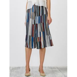Striped Pleated Crop Wide Leg Palazzo Pants - Blue - One Size