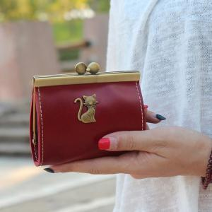 Cat Detail Kisslock Coin Purse - Claret