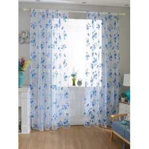 Flower Embroider Sheer Fabric Voile Curtain - Sky Blue - 100*200cm