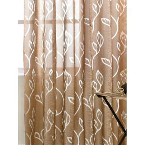 Window Shading Leaf Embroider Tulle Curtain - COFFEE 100*250CM