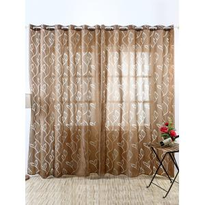 Window Shading Leaf Embroider Tulle Curtain - Coffee - 100*250cm