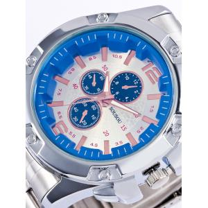 SOUSOU Number Analog Metallic Quartz Watch - DEEP BLUE