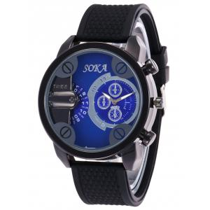Silica Gel Strap Analog Wrist Watch - BLUE