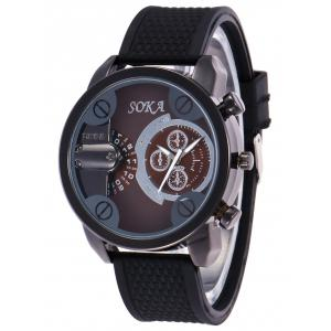 Silica Gel Strap Analog Wrist Watch - BROWN