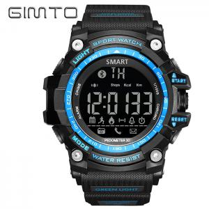 GIMTO Sport Pedometer Remider Bluetooth Smart Watch - Blue