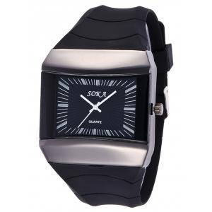 Silicone Strap Square Analog Watch - BLACK