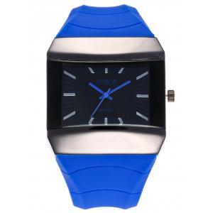 Silicone Strap Square Analog Watch - Blue